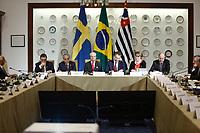 SÃO PAULO, SP, 03.04.2017 - FÓRUM -BRASIL SUÉCIA - Robson Braga, presidente da CNI, O rei da Suécia, Carl XVI Gustaf e o embaixador da Suecia no Brasil Per-Arne Hjelmborn durante Fórum de Líderes Empresariais Brasil-Suécia, no Palácio dos Bandeirantes, na tarde desta segunda-feira, 03.(Foto: Adriana Spaca/Brazil Photo Press)