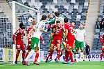 Stockholm 2014-05-04 Fotboll Superettan Hammarby IF - IFK V&auml;rnamo :  <br /> Hammarbys Thomas Guldborg Christensen g&ouml;r 1-0 p&aring; nick efter en h&ouml;rna i den f&ouml;rsta halvleken av Hammarbys Kennedy Bakircioglu <br /> (Foto: Kenta J&ouml;nsson) Nyckelord:  Superettan Tele2 Arena Hammarby HIF Bajen V&auml;rnamo