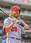 29 April 2017: Washington Nationals left fielder Jayson Werth stands on deck prior to his at-bat against the New York Mets at Nationals Park in Washington, DC. The Mets defeated the Nationals 5-3 to take the second game of their 3-game weekend series. Mandatory Credit: Ed Wolfstein Photo *** RAW (NEF) Image File Available ***
