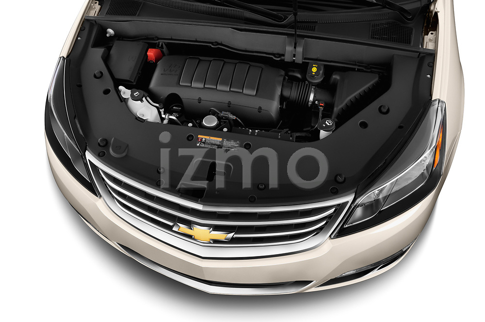 High angle engine detail of a  2013 Chevrolet Traverse 1LT SUV