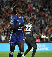 BOGOTÁ-COLOMBIA, 15-01-2020 :Hanzel Zapata de Millonarios celebra el gol anotado a Independiente Santa Fe, durante partido entre Millonarios y el Independiente Santa Fe, por el Torneo ESPN 2020, jugado en el estadio Nemesio Camacho El Campin de la ciudad de Bogotá. / Hanzel Zapata of Millonarios celebrates a goal scoring to Independiente Santa Fe, during a match between Millonarios and Independiente Santa Fe, for the ESPN Tournament 2020, played at the Nemesio Camacho El Campin stadium in the city of Bogota. Photo: VizzorImage / Luis Ramírez / Staff.
