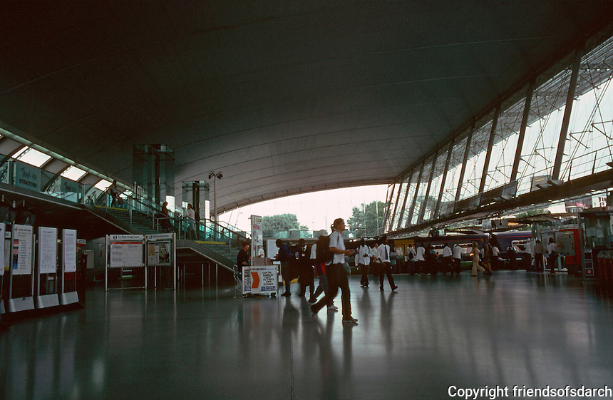 London:  Jubilee Line, Stratford Station--looking like Saarinen's Dulles Airport Terminal Building.   Photo 2005.