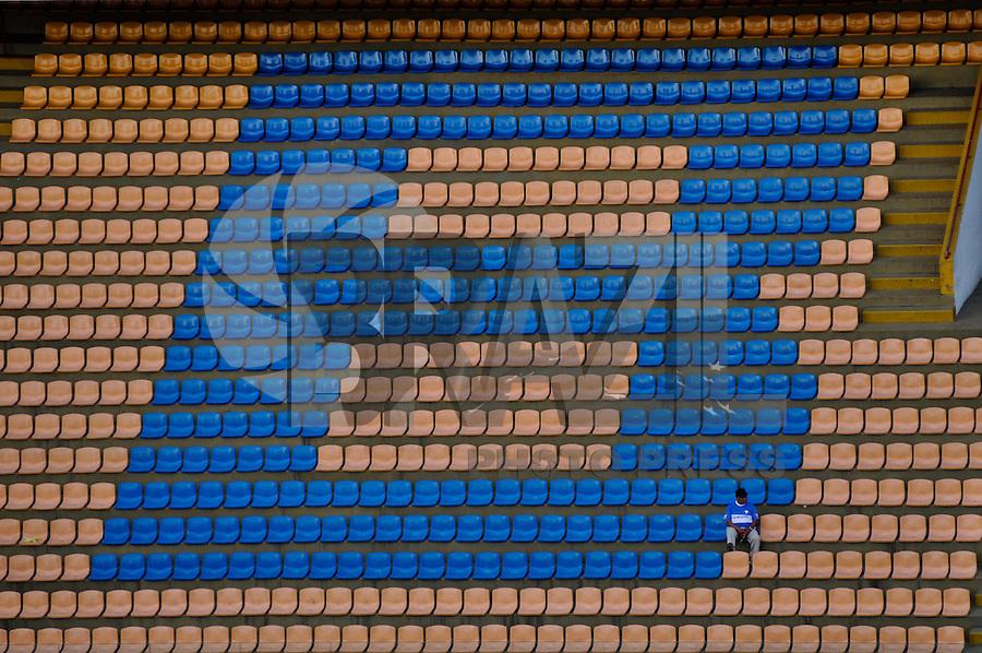 BARUERI, SP, 01 DE JULHO DE 2012 - CAMPEONATO BRASILEIRO - PALMEIRAS x FIGUEIRENSE: Torcedores na arquibancada antes da partida Palmeiras x FIGUEIRENSE, válida pela 7ª rodada do Campeonato Brasileiro na Arena Barueri. FOTO: LEVI BIANCO - BRAZIL PHOTO PRESS
