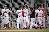 Illinois State Redbirds players including Sean Beesley (29), Dennis Colon (1) and Daniel Dwyer (32) celebrate a hit during a game against the Bucknell Bison on March 8, 2015 at North Charlotte Regional Park in Port Charlotte, Florida.  Bucknell defeated Illinois State 13-8.  (Mike Janes Photography)
