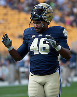 Pitt defensive end Shayne Hale. The Pittsburgh Panthers defeated Florida International Golden Panthers 44-17 at Heinz Field, Pittsburgh Pennsylvania on October 2, 2010.