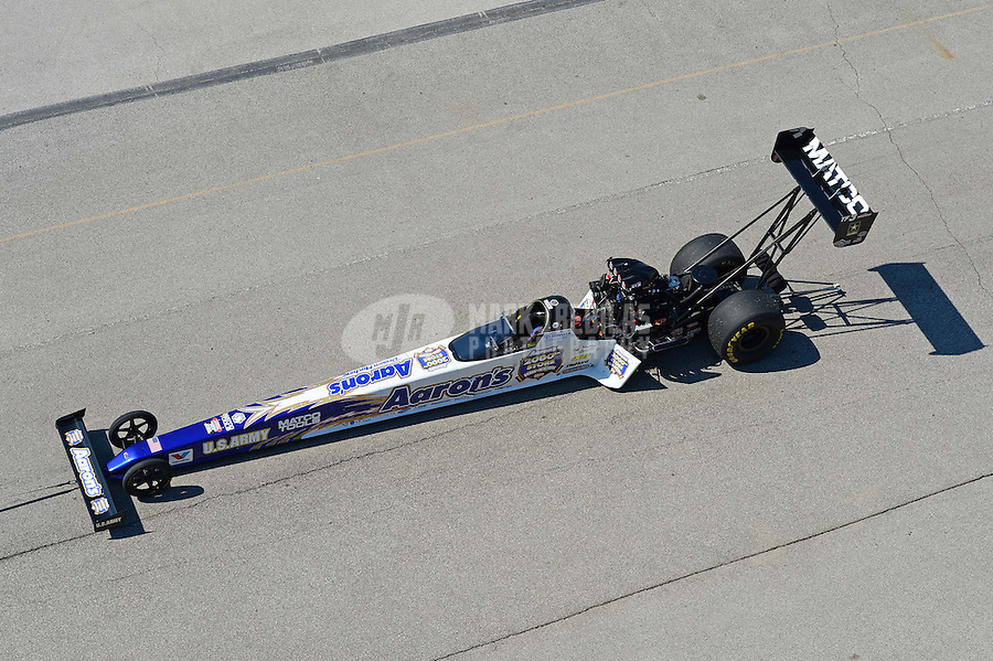 Sept. 29, 2012; Madison, IL, USA: The car of NHRA top fuel dragster driver Antron Brown during qualifying for the Midwest Nationals at Gateway Motorsports Park. Mandatory Credit: Mark J. Rebilas-