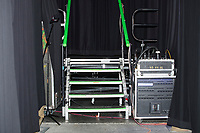 Backstage stairs lead to the wrestlers' entrance stage at a WWE Live Summerslam Heatwave Tour event at the MassMutual Center in Springfield, Massachusetts, USA, on Mon., Aug. 14, 2017.