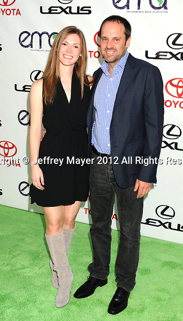 BURBANK, CA - SEPTEMBER 29: Jeff Skoll and guest arrive at the 2012 Environmental Media Awards at Warner Bros. Studios on September 29, 2012 in Burbank, California.