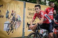 Tiesj Benoot (BEL/Lotto Soudal) awaiting the team presentation.<br /> <br /> <br /> Le Grand D&eacute;part 2018<br /> 105th Tour de France 2018<br /> &copy;Kramon