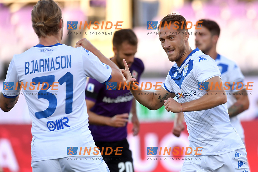 Alfredo Donnarumma of Brescia Calcio celebrates after scoring on penalty the goal of 0-1 during the Serie A football match between ACF Fiorentina and Brescia Calcio at Artemio Franchi stadium in Florence ( Italy ), June 22th, 2020. Play resumes behind closed doors following the outbreak of the coronavirus disease. <br /> Photo Antonietta Baldassarre / Insidefoto