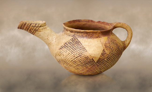 Early Minoan rounded teapot with typical brownish red painted bhatched lines,  Hagios Onouphrios 2900-1900 BC BC, Heraklion Archaeological  Museum.