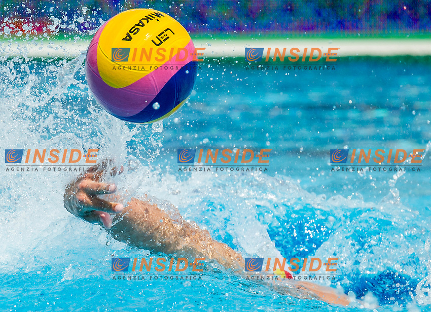Ball<br /> Romania (White) Vs Georgia (Black)<br /> ROU-GEO<br /> LEN European Water Polo Championships 2014<br /> Alfred Hajos -Tamas Szechy Swimming Complex<br /> Margitsziget - Margaret Island<br /> Day01 - July 14 <br /> Photo Pasquale Mesiano/Inside/