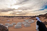 A panoramic view of the black and white tents of the Akakus Magic Lodge
