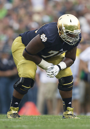 August 31, 2013:  Notre Dame offensive lineman Ronnie Stanley (78) during NCAA Football game action between the Notre Dame Fighting Irish and the Temple Owls at Notre Dame Stadium in South Bend, Indiana.  Notre Dame defeated Temple 28-6.