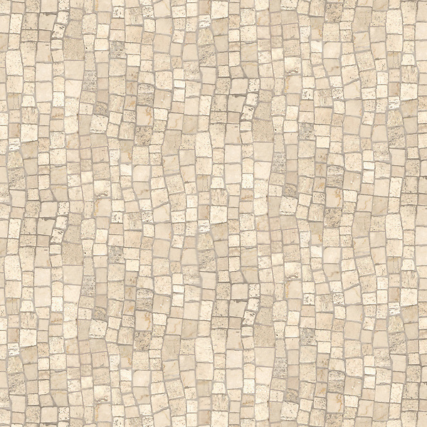 Bark Birch, a hand-chopped stone mosaic, shown in tumbled Travertine White.