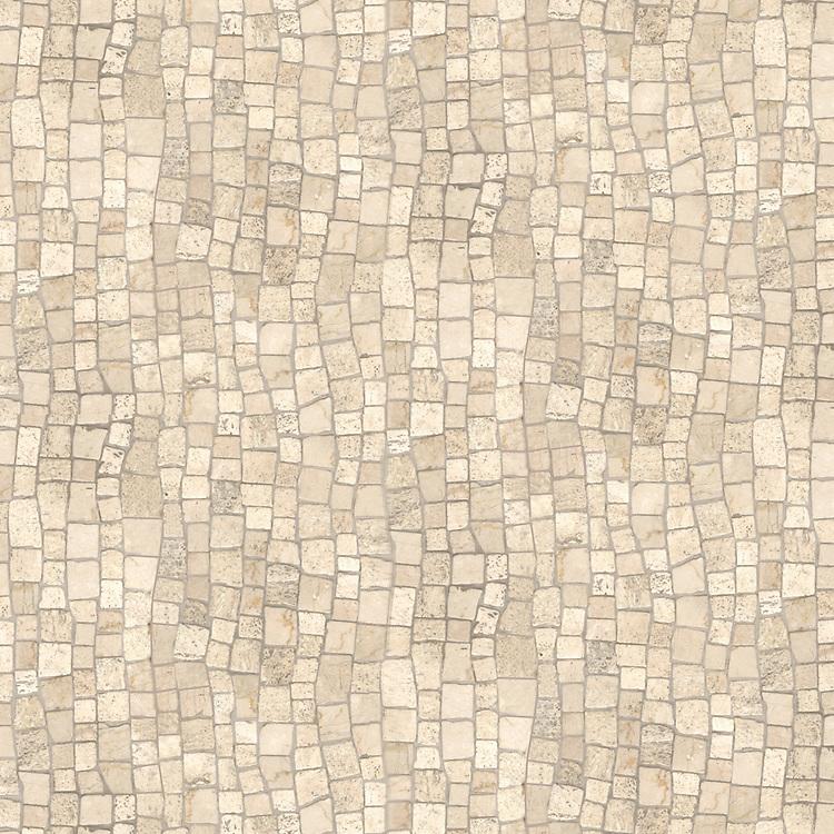Bark Birch, a hand-chopped stone mosaic, shown in tumbled Travertine White.