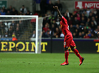 Pictured:Victor Moses of Liverpool celebrating his goal, making the score 1-2. Monday 16 September 2013<br />