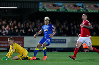 Lyle Taylor of AFC Wimbledon smiles after scoring during the Sky Bet League 1 match between AFC Wimbledon and Charlton Athletic at the Cherry Red Records Stadium, Kingston, England on 10 April 2018. Photo by Carlton Myrie / PRiME Media Images.