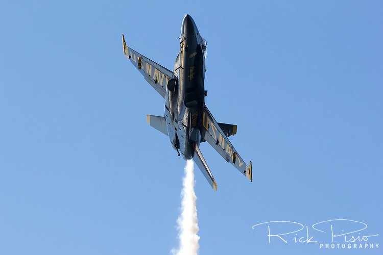 Lone Blue Angels F-18 Hornet over San Francisco Bay