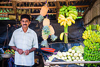 Sacred City of Anuradhapura, fruit stall owner, Sri Lanka, Asia. This is a photo of a fruit stall owner in the Sacred City of Anuradhapura.