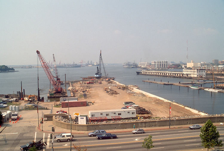 1991 September ..Redevelopment.Downtown West (A-1-6)..NAUTICUS.CONSTRUCTION PROGRESS.FROM PARKING GARAGE...NEG#.NRHA#..