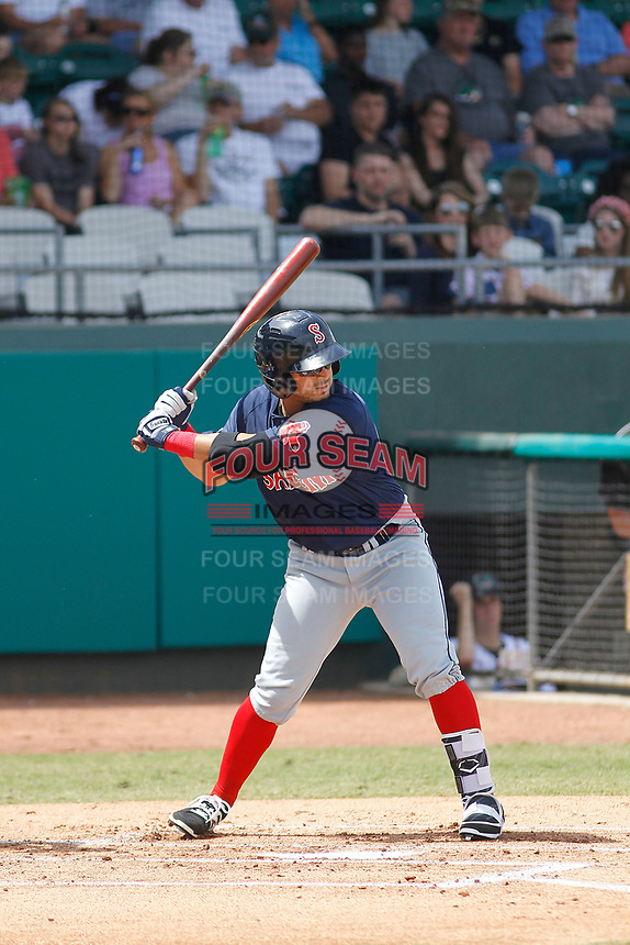 Salem Red Sox outfielder Chris Madera (33) at bat during a game against the Down East Wood Ducks  at Grainer Stadium on April 16, 2017 in Kinston, North Carolina. Salem defeated Down East 9-2. (Robert Gurganus/Four Seam Images)