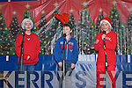 The Three Tennors from St. Mary's Boy's National School in Abbeyfeale singing their hearts out on stage in the square in Abbeyfeale on Sunday.