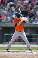 Tucker Nathans (6) of the Frederick Keys at bat against the Lynchburg Hillcats at Calvin Falwell Field at Lynchburg City Stadium on May 14, 2015 in Lynchburg, Virginia.  The Hillcats defeated the Keys 6-3.  (Brian Westerholt/Four Seam Images)