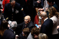 L'ex Presidente della Repubblica Giorgio Napolitano saluta senatori e deputati durante la seduta comune per l'elezione del nuovo Presidente della Repubblica, alla Camera dei Deputati, Roma, 29 gennaio 2015.<br /> Italian former President Giorgio Napolitano greets senators and deputies during a joint plenary session to vote for the election of the new President, at the Lower Chamber, Rome, 29 January 2015.<br /> UPDATE IMAGES PRESS/Riccardo De Luca