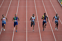 Adam Gemili (Great Britain) is beaten into 2nd place by Yohan Blake (Jamaica) in the men's 100m final during the IAAF Diamond League Athletics Müller Grand Prix Birmingham at Alexander Stadium, Walsall Road, Birmingham on 18 August 2019. Photo by Alan  Stanford.