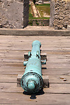This bronze cannon is an example of the individual desgns of the early Spanish armament.  A mold was created for each weapon and then cast in bronze.  This cannon is at the Castillo de San Marcos in St. Augustine, Florida.