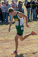 Peyton Ford, a Zalma junior, fights to get to the finish line in the Class 1 Boy's race at the 2015 MSHSAA State Cross Country Championships. Ford finished 5th, leading his Zalma squad to a 5th-place team finish, 22 points shy of a trophy.