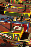 Close-up of colourful canal boats at Gas Street Basin Birmingham England