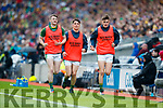 Tom O'Sullivan, Brian Ó Beagaloich and Sean O'Shea Kerry in action against  Galway in the All Ireland Senior Football Quarter Final at Croke Park on Sunday.