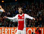 Nederland, Almelo, 20 oktober 2012.Eredivisie.Seizoen 2012-2013.Heracles Almelo-Ajax.Lasse Schone van Ajax juicht nadat hij een doelpunt heeft gemaakt