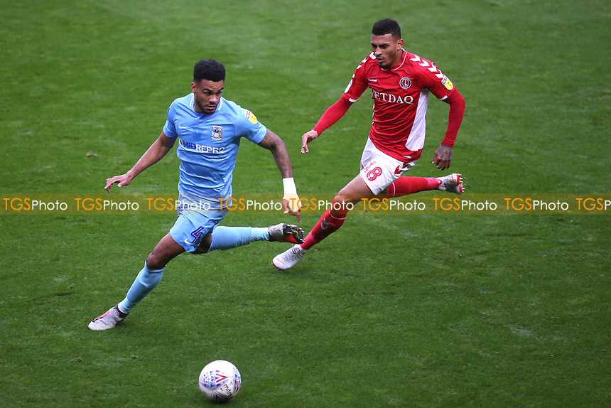 Jordan Willis of Coventry City and Charlton's Karlan Grant during Charlton Athletic vs Coventry City, Sky Bet EFL League 1 Football at The Valley on 6th October 2018
