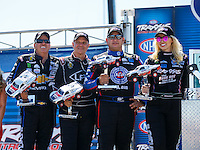 Sep 4, 2016; Clermont, IN, USA; (From left) NHRA funny car driver John Force, Tim Wilkerson, Robert Hight and Courtney Force during qualifying for the US Nationals at Lucas Oil Raceway. Mandatory Credit: Mark J. Rebilas-USA TODAY Sports