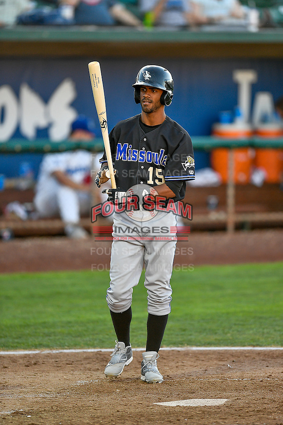 Luis Silverio (15) of the Missoula Osprey at bat against the Ogden Raptors in Pioneer League action at Lindquist Field on July 13, 2016 in Ogden, Utah. Ogden defeated Missoula 8-2. (Stephen Smith/Four Seam Images)