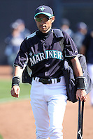 Ichiro Suzuki #51 of the Seattle Mariners plays in a spring training game against the San Diego Padres at Peoria Stadium on February 27, 2011  in Peoria, Arizona. .Photo by:  Bill Mitchell/Four Seam Images.