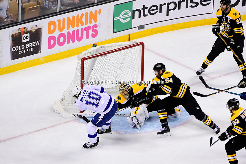 May 2, 2018: Boston Bruins goaltender Tuukka Rask (40) makes a stick save on a shot from Tampa Bay Lightning center J.T. Miller (10) during game three of the second round of the National Hockey League's Eastern Conference Stanley Cup playoffs between the Tampa Bay Lightning and the Boston Bruins held at TD Garden, in Boston, Mass. Tampa Bay defeats Boston 4-1. Eric Canha/CSM