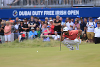 Matthieu Pavon (FRA) on the 18th green during Sunday's Final Round of the 2018 Dubai Duty Free Irish Open, held at Ballyliffin Golf Club, Ireland. 8th July 2018.<br /> Picture: Eoin Clarke | Golffile<br /> <br /> <br /> All photos usage must carry mandatory copyright credit (&copy; Golffile | Eoin Clarke)