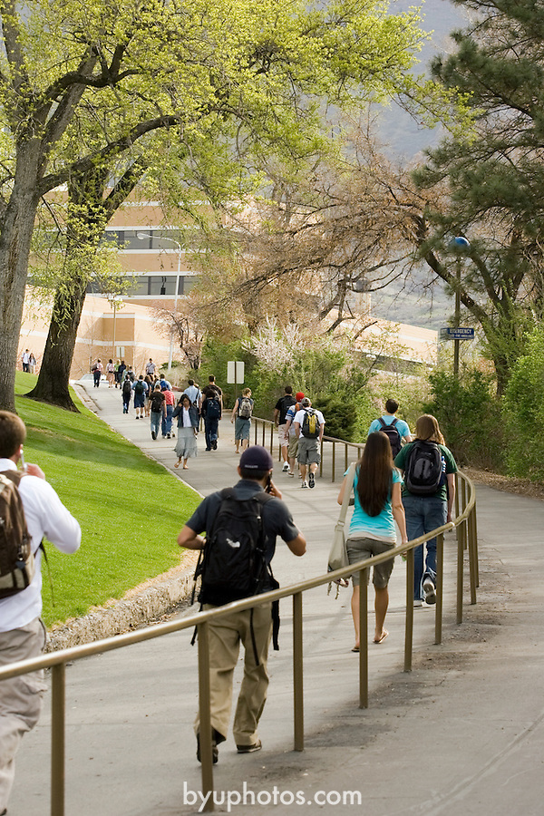 0704-01 GCS April 2007..BYU General Campus Scenics..South Campus Walkway, Spring Flowers, Students walking up to campus, Morning..April 6, 2007..Photo by Jaren Wilkey/BYU..Copyright BYU Photo 2007.All Rights Reserved .photo@byu.edu  (801)422-7322