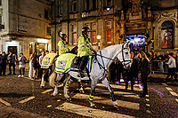 Pictured: Two mounted police officers patrol the street. Sunday 31 December 2017 and 01 January 2018<br /> Re: New Year revellers in Wind Street, Swansea, Wales, UK