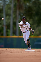 GCL Pirates shortstop Norkis Marcos (3) throws to first base during a Gulf Coast League game against the GCL Red Sox on August 1, 2019 at Pirate City in Bradenton, Florida.  GCL Red Sox defeated the GCL Pirates 11-3.  (Mike Janes/Four Seam Images)