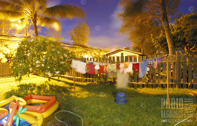 Cluttered backyard lit with moonlight and street lights. Scene contains plumeria tree, palm trees, inflatable pool and clothes drying on the line. Shot at night.