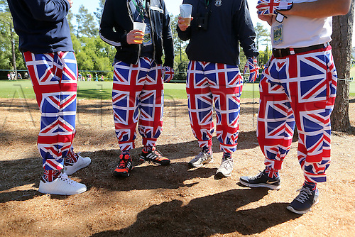 09.04.2016. Augusta, GA, USA.  Fans of Rory McIlroy and Ian Poulter sport the Union Jack on the 9th fairway during the third round of the 80th Masters at the Augusta National Golf Club in Augusta, Ga., on Saturday, April 9, 2016
