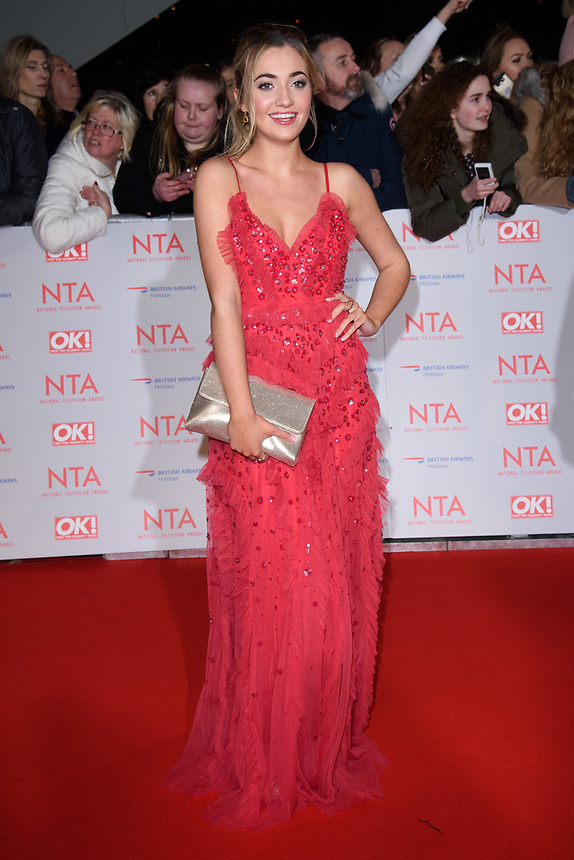 Tilly Keeper<br /> arriving for the National Television Awards 2018 at the O2 Arena, Greenwich, London<br /> <br /> <br /> ©Ash Knotek  D3371  23/01/2018