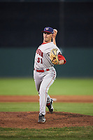 Auburn Doubledays relief pitcher Gabe Klobosits (31) delivers a warmup pitch during a game against the Batavia Muckdogs on July 4, 2017 at Dwyer Stadium in Batavia, New York.  Batavia defeated Auburn 3-2.  (Mike Janes/Four Seam Images)