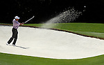 AUGUSTA, GA - APRIL 10:  Tiger Woods hits out of the bunker during the 2010 Masters Tournament held in Augusta, Georgia at Augusta National Golf Club on April 10, 2010. (Photo by Donald Miralle)..