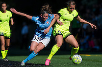 Seattle, WA - Sunday, April 17, 2016: Sky Blue FC defender Erin Simon (33) battles Seattle Reign FC midfielder Merritt Mathias (9) for the ball at Memorial Stadium. Sky Blue FC defeated the Seattle Reign FC 2-1during a National Women's Soccer League (NWSL) match at Memorial Stadium.